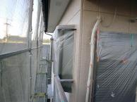 塗装工事の施工中
